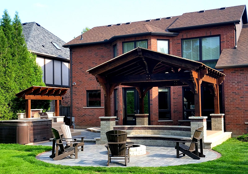 Outdoor Living Space with Built in BBQ, Patio and Firepit