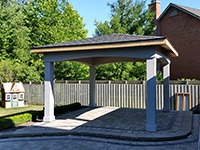 Stucco Pavilion; 12x12 Stucco Pavilion with louvered pine ceiling