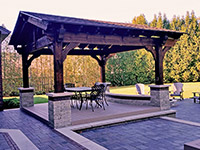 Timber Pavilion. Timber pavilion with stone colums and Azek floor